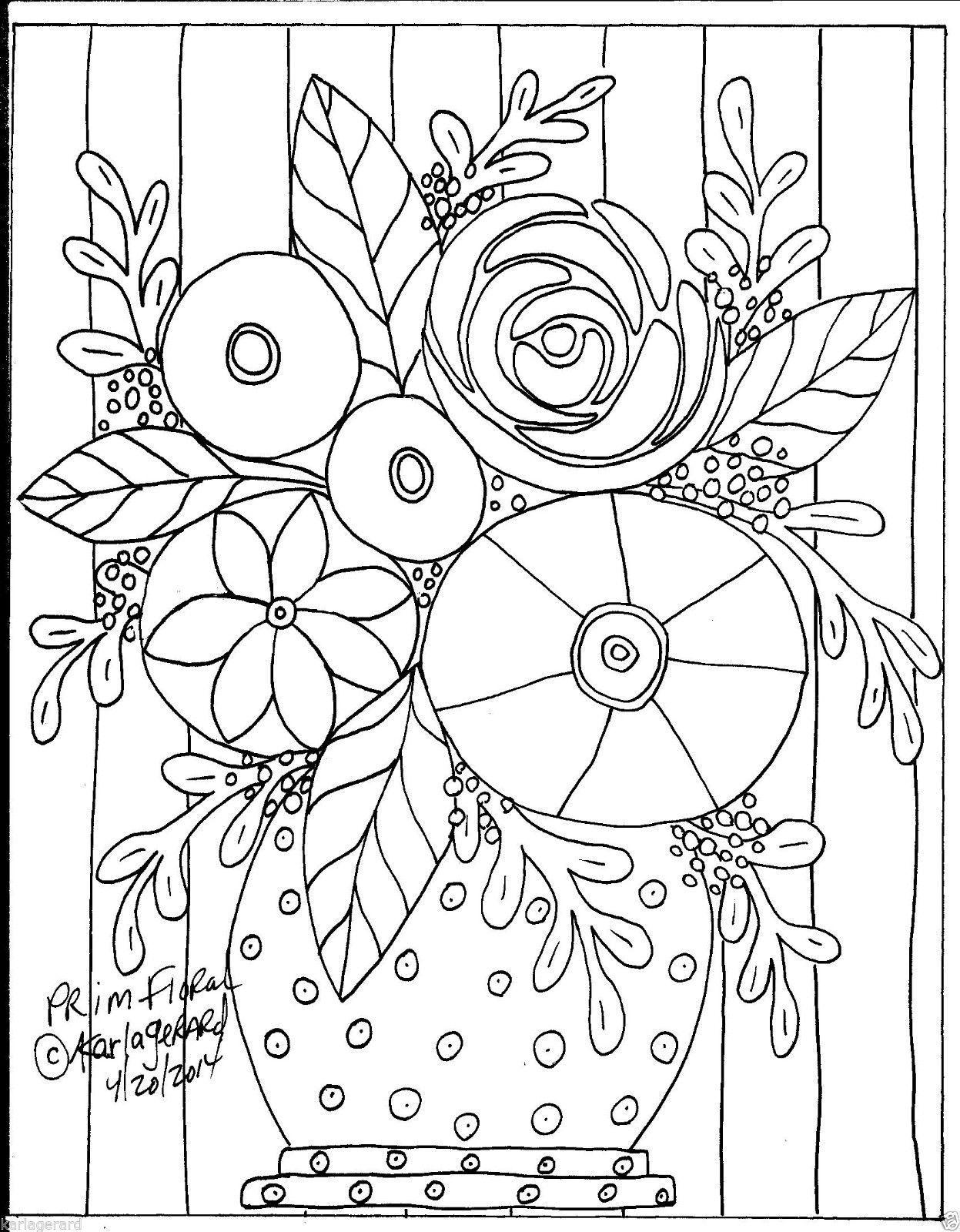 RUG HOOKING CRAFT PAPER PATTERN Prim Floral FOLK ART PRIMITIVE Karla ...