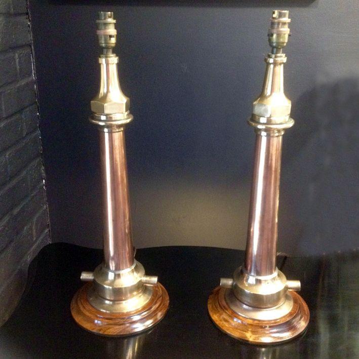 U Collection Rare Pair Of Antique Fire Hose Nozzle Table Lamps 7 Utopia Antique Table Lamps Lamp Table Lamp