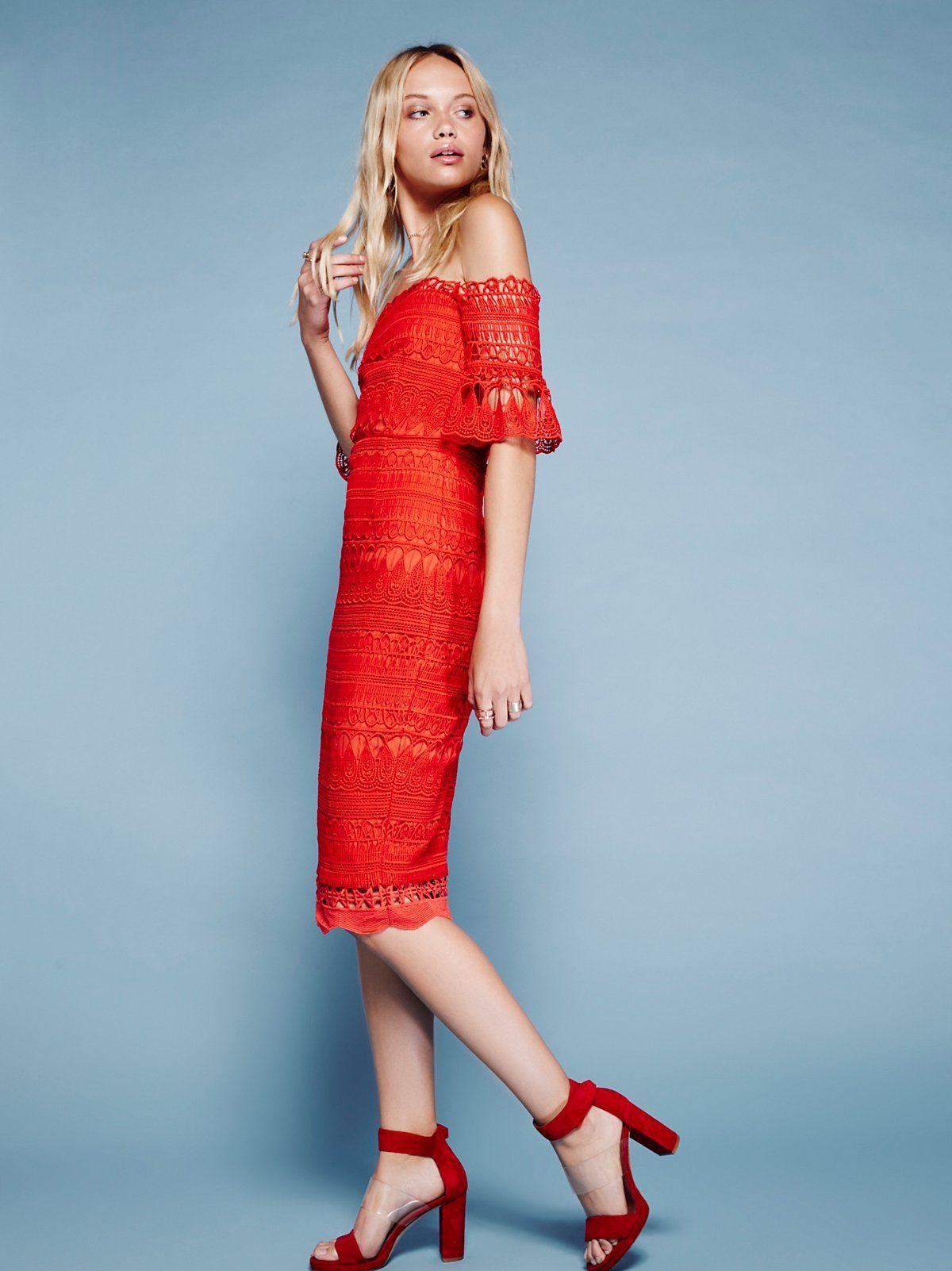 Mariah Midi Dress Red Midi Dress Crochet Midi Dress Long Sleeve Embroidered Dress