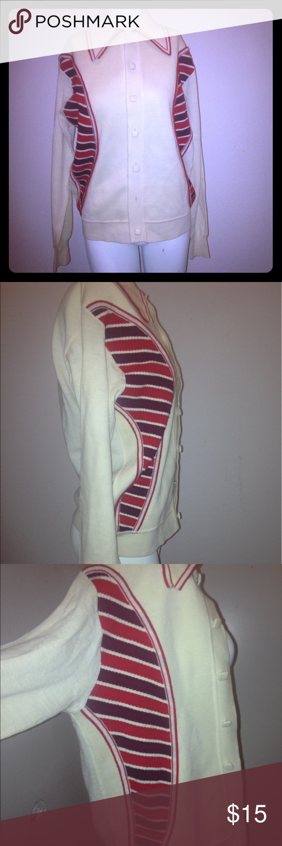 Mario Ricco vintage cardigan Mario Ricco vintage cardigan   Beautiful classic vintage cardigan  100% virgin wool   SIZE- M.   But will fit large  Missing one button Jackets & Coats