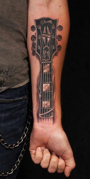 Tatuaże 3d Gitara Na Przedramieniu Tattoos Pinterest