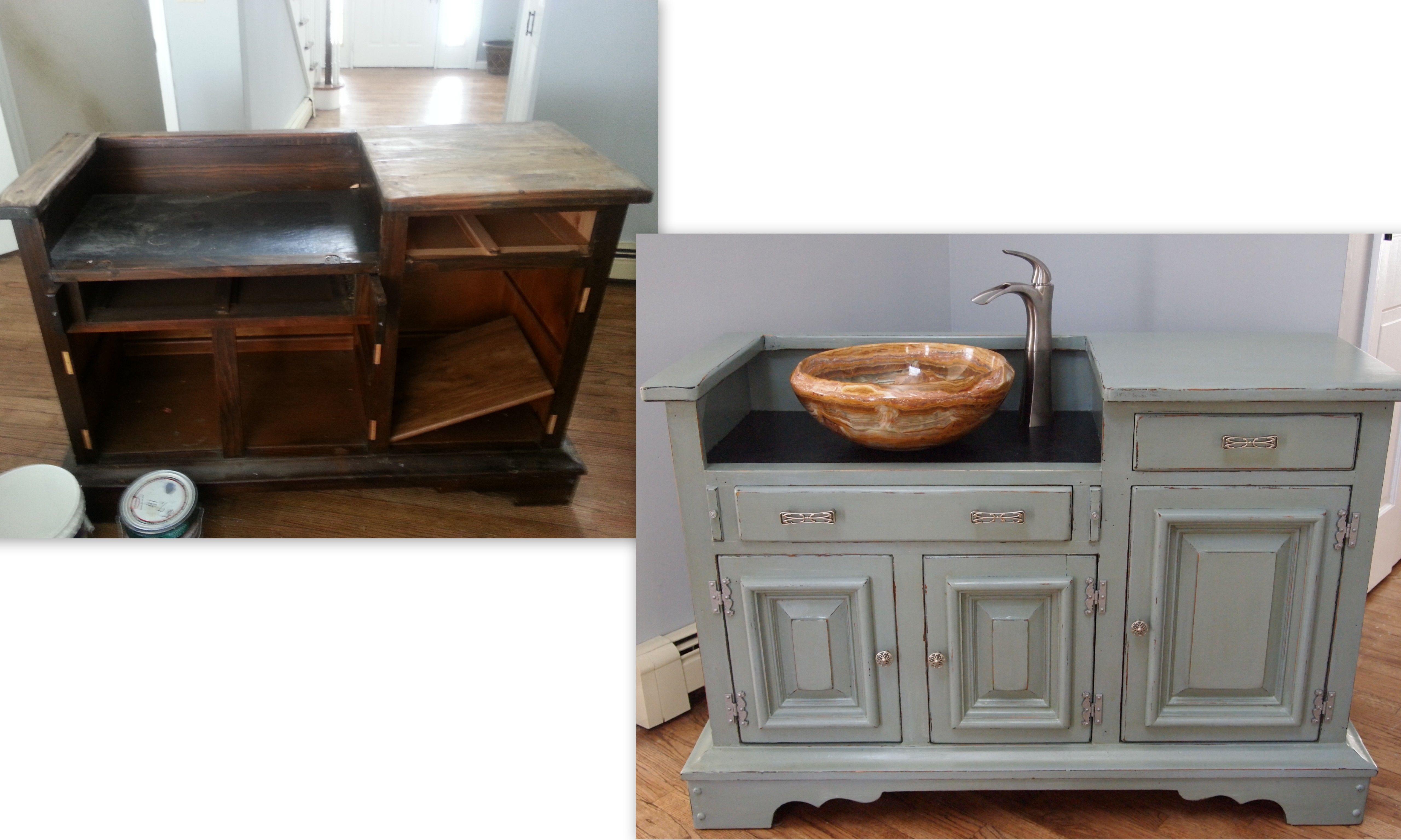 Diy Bathroom Vanity Dry Sink To Real Sink Vanity Before And After Diy Bathroom Vanity Bathroom Vanity Unique Bathroom Vanity