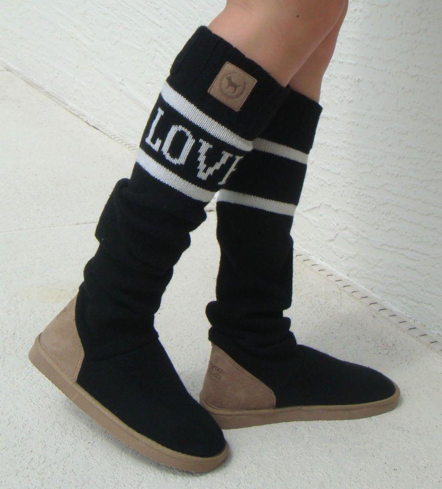 Victoria S Secret Love Pink Boots Slipper Socks Slouchy Mukluks Booties 7 8