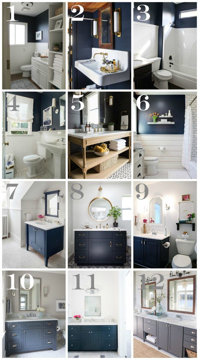 Navy bathroom decorating ideas navy bathroom blue walls for Blue and silver bathroom sets