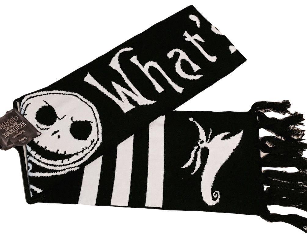 Nightmare Before Christmas Jack Black and White Jacquard Knit Scarf ...