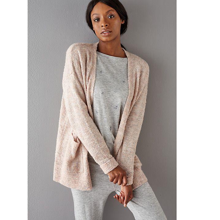 Buy John Lewis Fluffy Knitted Cardigan, Beige Pink, S Online at johnlewis.com