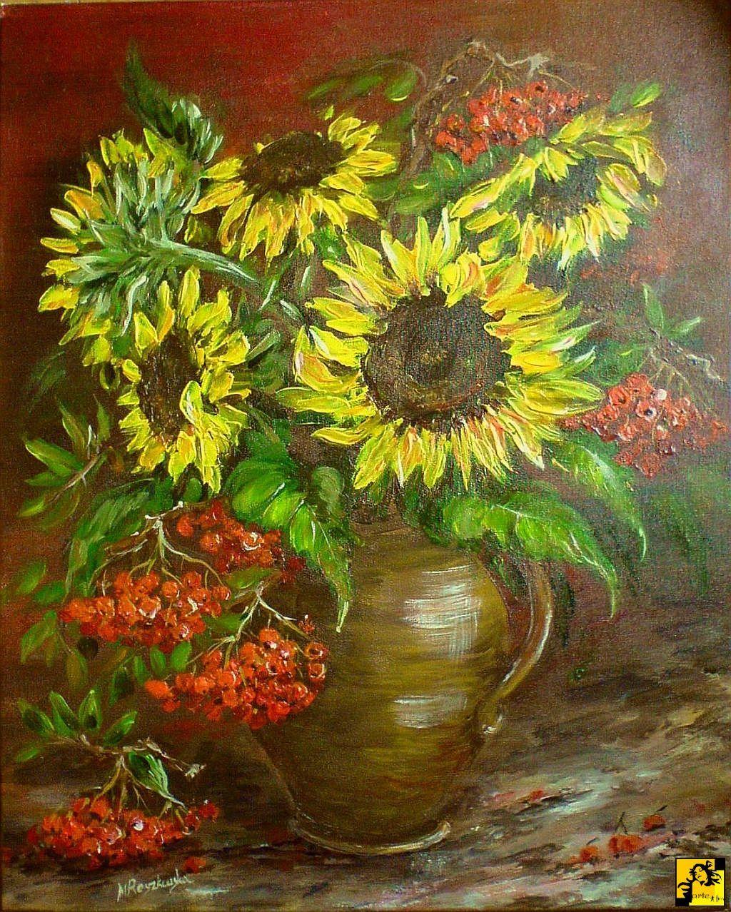 Maria Roszkowska Sloneczniki Z Jarzebina Flower Painting Sunflower Art Flower Art