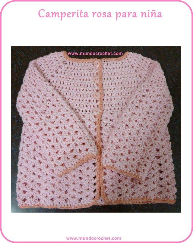 Saquito o Camperita a crochet para niña CON PATRON | Ganchillo ...