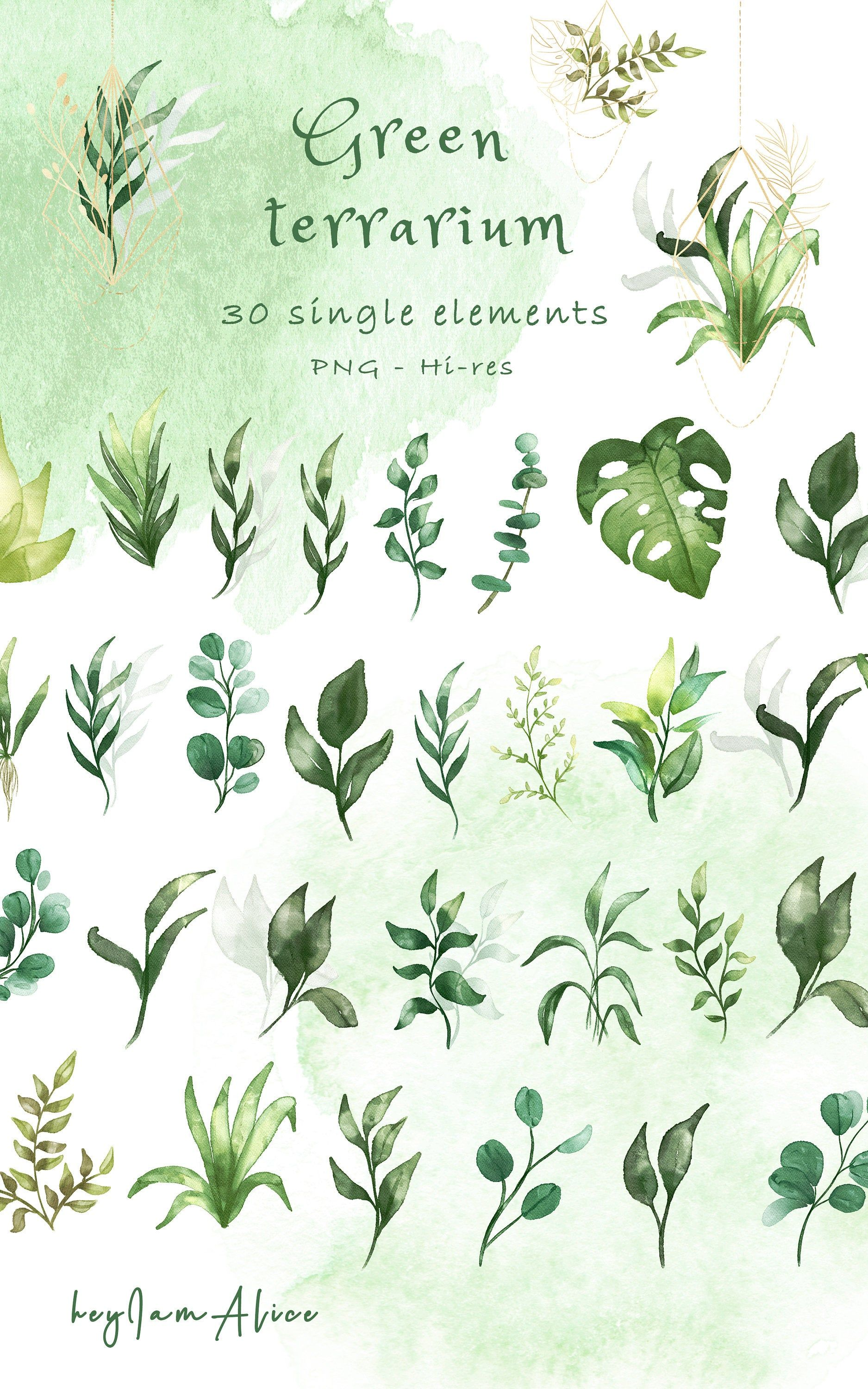 Greenery Watercolor Clipart Foliage Clipart Free Commercial Etsy Clip Art Watercolor Clipart Watercolor Cards