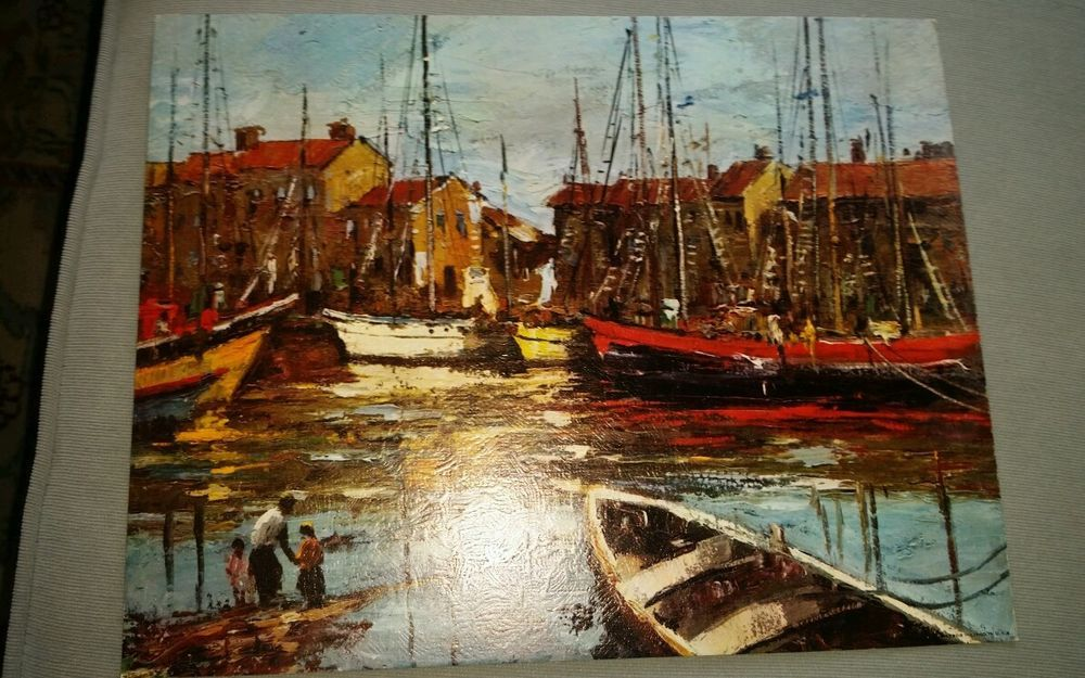 Mid century litho art boats harbor oil painting 14x11 vintage 60s kitsch in Art, Art from Dealers & Resellers, Prints | eBay
