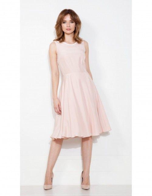ef8e8276 Sukienka z jedwabiu rozkloszowana pudrowy róż | sukienki w 2019 ...