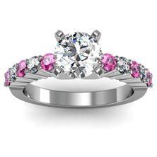 Round Diamond & Pink Sapphire Engagement Ring set in 18k White Gold