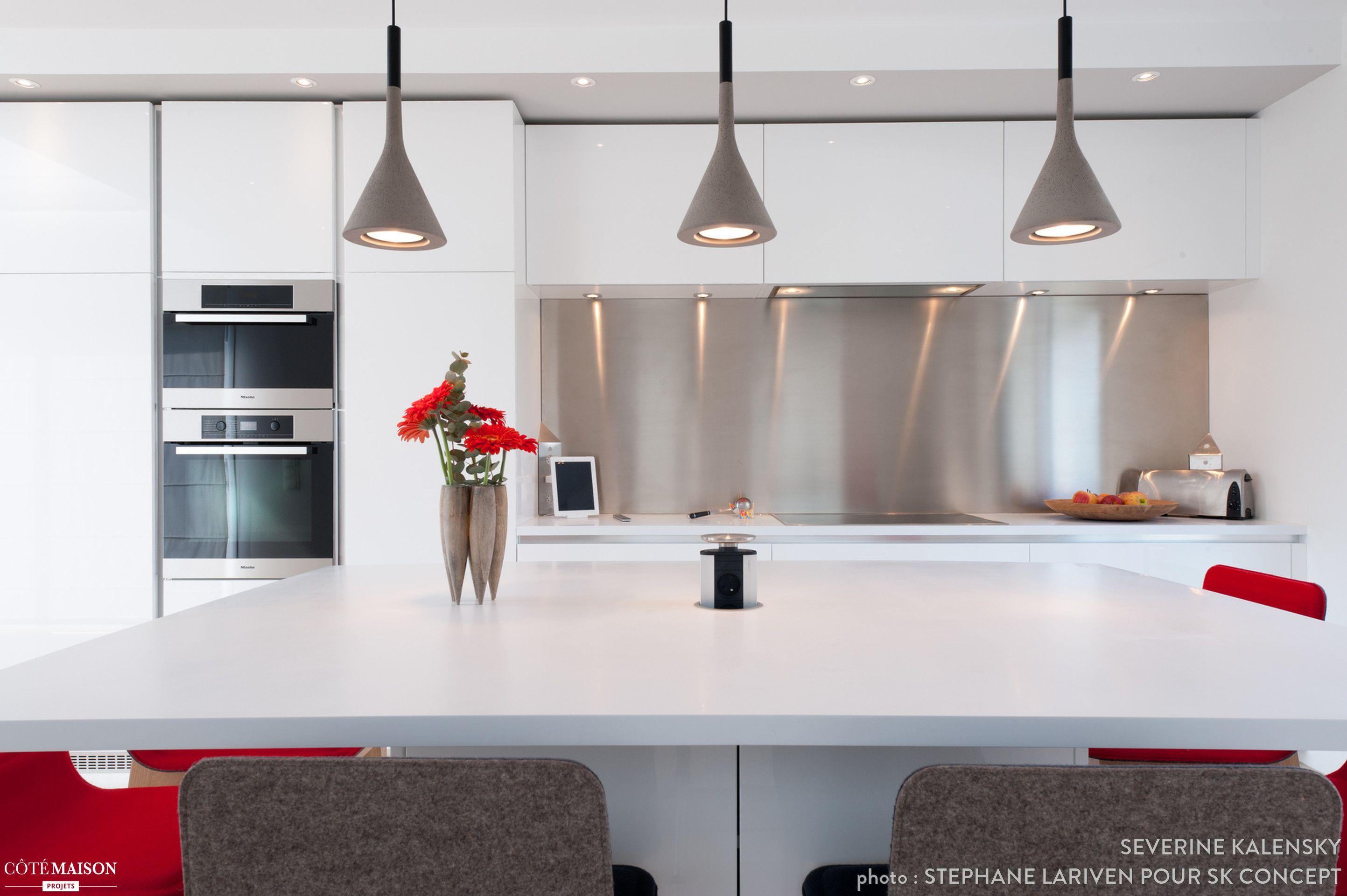 Projet Cuisine Design Italien Total Look Blanc Avec îlot Central, Finition  Laque Blanc Brillant Pour