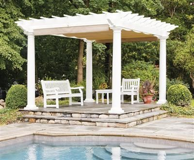 Straight Top Freestanding Shade Pergola Kit With Round Columns from Walpole  Woodworkers - Straight Top Freestanding Shade Pergola Kit With Round Columns From