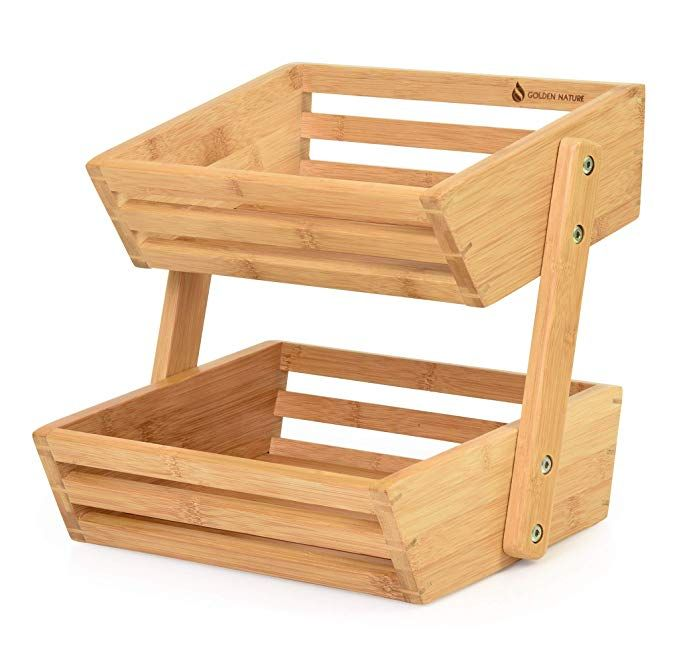 Golden Nature Bamboo Fruit Basket 2 Tier Fruit And Vegetable