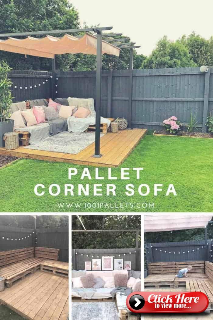 Easy Pallet Corner Sofa Pallet Garden Furniture Diy Pallet Furniture Outdoor Diy Garden Furniture