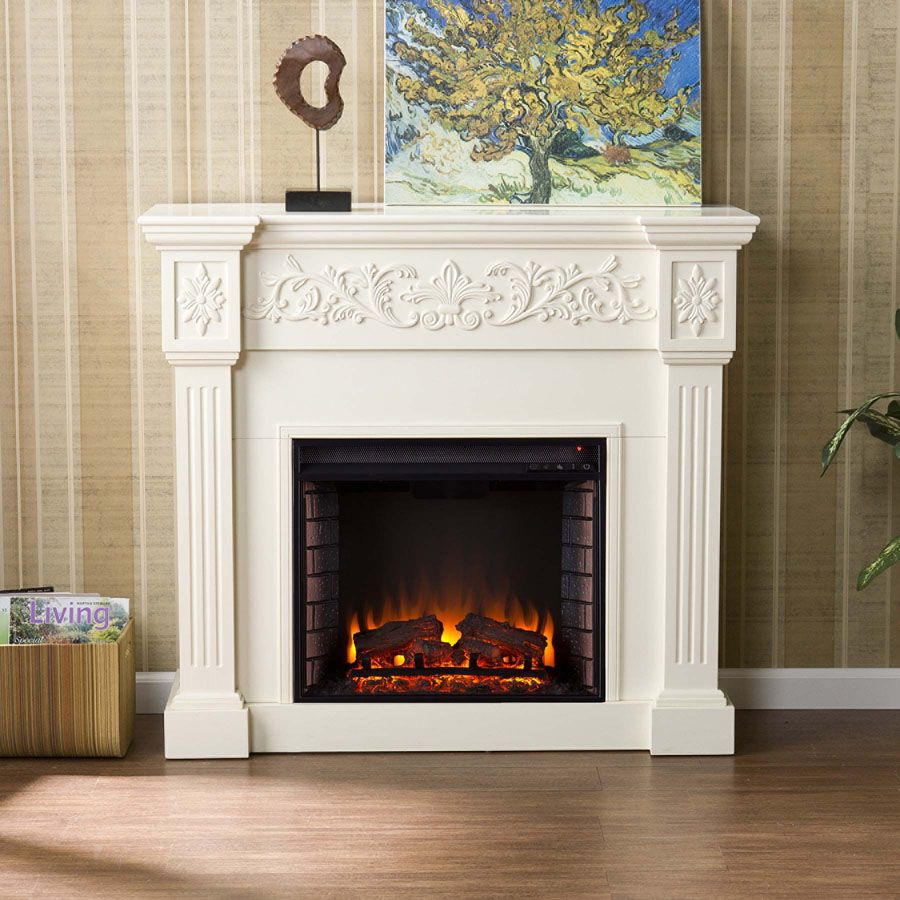 Inserts fireplace accessories new york by bowden s fireside - 44 5 Holly Martin Huntington Electric Fireplace Ivory Beautiful Carved Wood Columns Accent