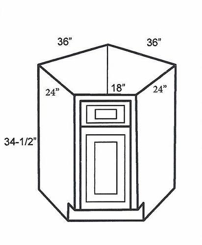 Sba36 base corner cabinets sink base angle cabinet mocha for Angled corner kitchen cabinets