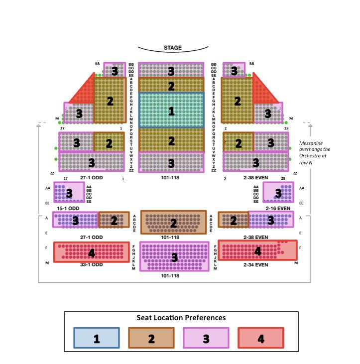 Gershwin theatre seating chart gershwin theatre seating info