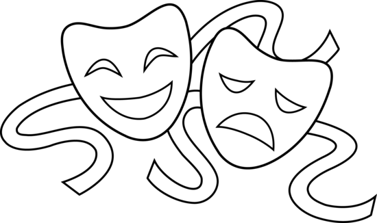 clip art drama masks theater masks line art theatre pinterest rh pinterest com Colorful Drama Masks drama mask clip art free