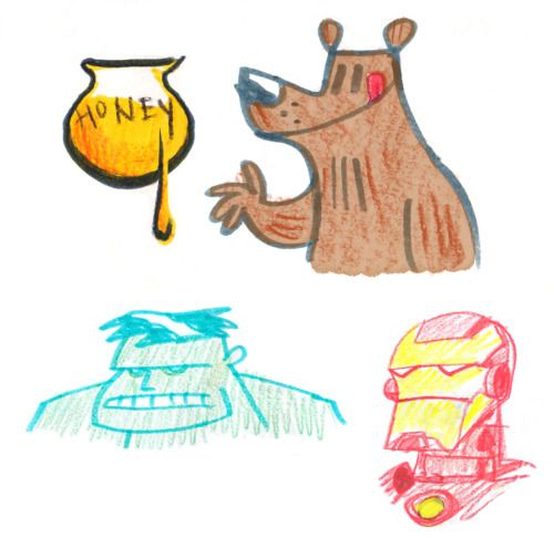 Crayon & marker drawings …'cause when you sit down to draw with children, you work with the medium provided ;)
