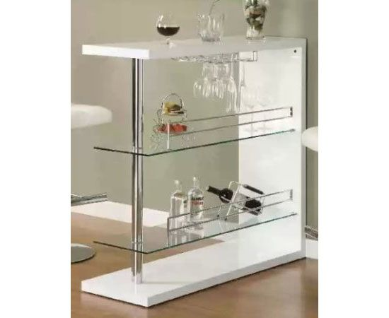 Coaster Home Bar Table With Two Glass Shelves | Modern