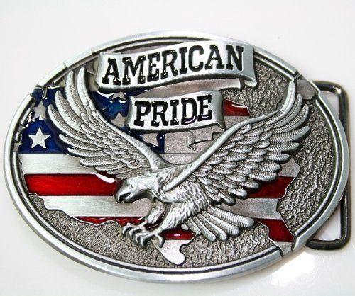 Belt Buckle U.S.A American Flag Soaring Eagle Buckles for Men Leather Belt