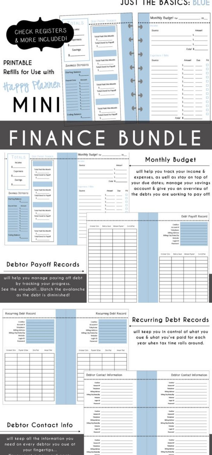 Printable Finance Bundle Inserts For Your Mini  Happy Planner