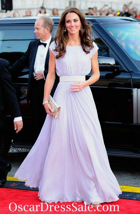 Chiffon Cap Sleeves Kate Middleton Lilac Evening Dress Long  8c5d0a9561d5