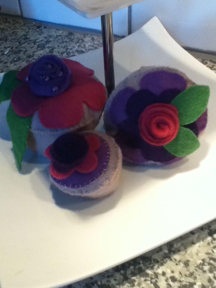 Sfeervolle cupcakes van vilt!
