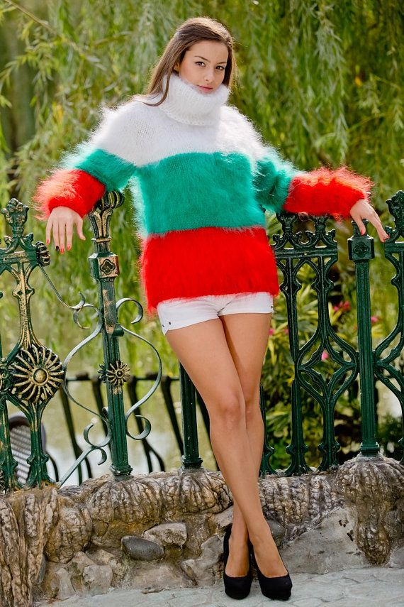 d08024385053ba Bulgarian Flag Sweater, Mohair Sweater, Fluffy Pullover, Knit ...
