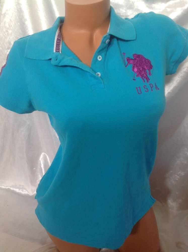 Polo Shirt Large L Women Blue Purple Turquoise Golf Pony Top USPA US Polo Assn #USPoloAssn #GraphicTee