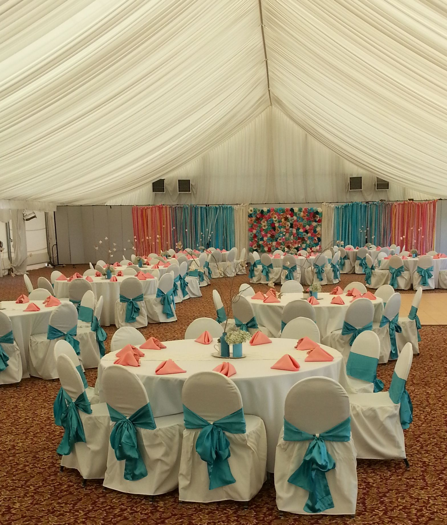 coral sashes for wedding chairs 6 person table and chair set linens fabric napkins napkin aqua pool