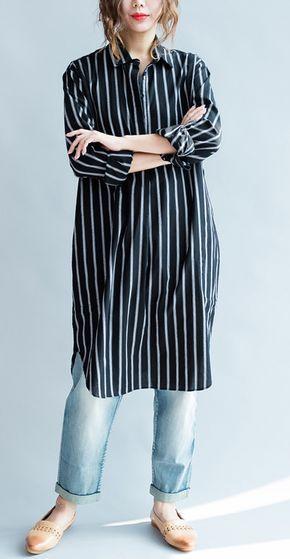254b1034836 Striped black long sleeve womens linen shirts plus size women dresses  cotton blouses