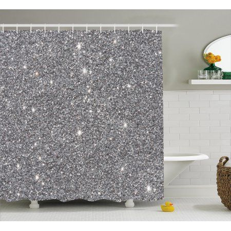 Silver Shower Curtain Set Glamour Glitters Themed Luxury Shiny