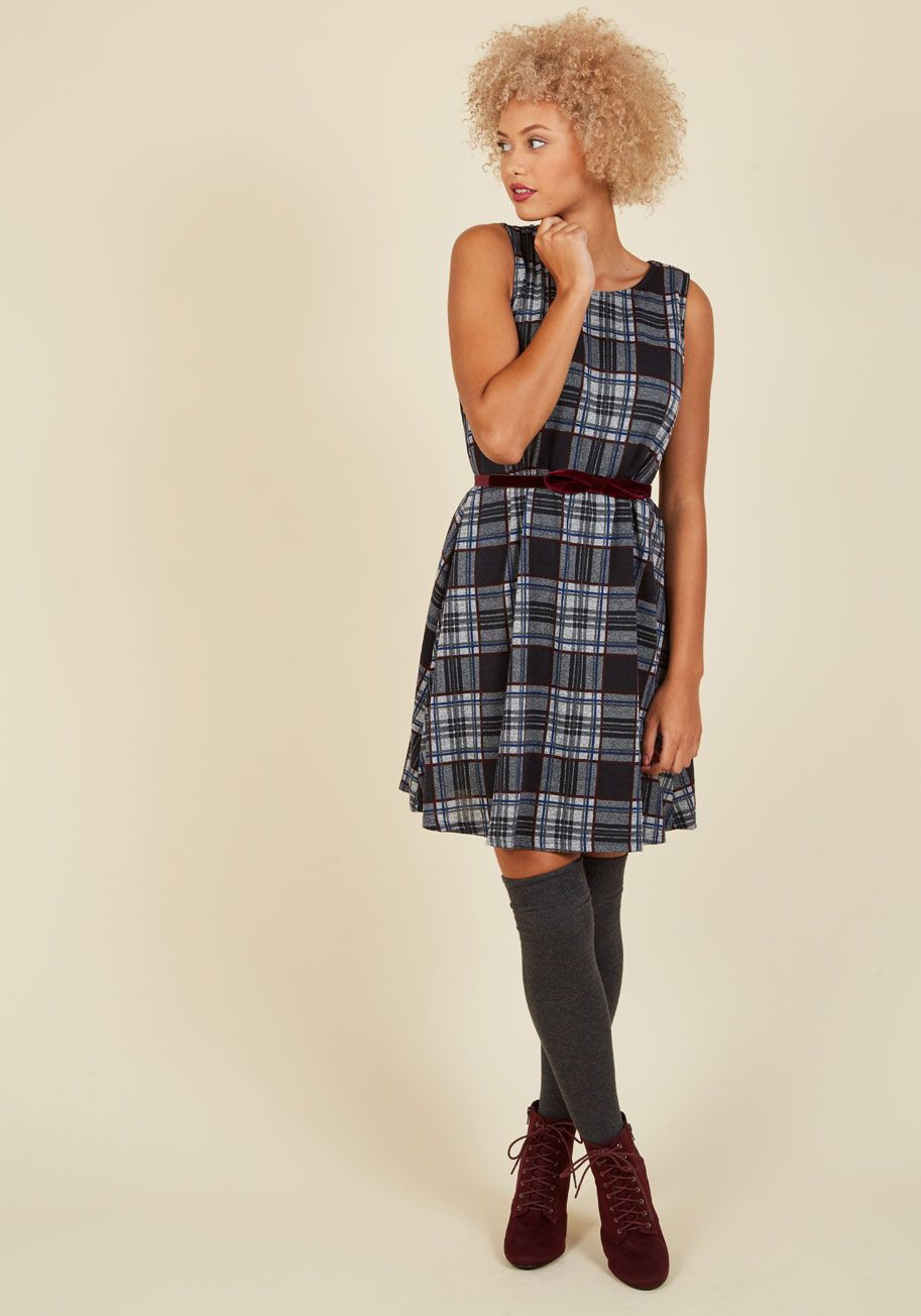Thesis How We Do Shift Dress in Stone. After all your hard work, you approach the podium in this precious plaid dress looking ready to tackle the group presentation! #grey #modcloth
