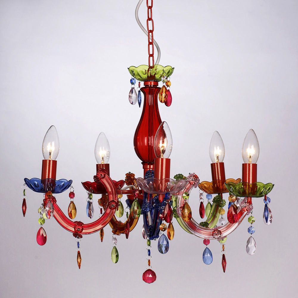 Vintage Style Multi Coloured Marie Therese 5 Way Ceiling Light Gypsy Chandelier