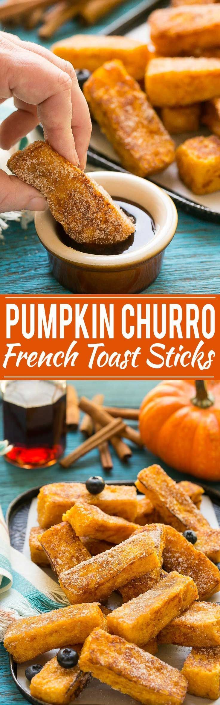 Light and fluffy pumpkin french toast sticks coated in cinnamon sugar. They're super fun to eat and they taste like a churro! and fluffy pumpkin french toast sticks coated in cinnamon sugar. They're super fun to eat and they taste like a churro!