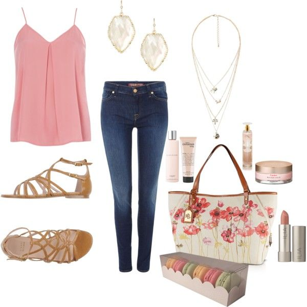 spring outfit 2~ by holly-ivy on Polyvore featuring polyvore, fashion, style, Dorothy Perkins, 7 For All Mankind, Stuart Weitzman, Lauren Ralph Lauren, MANGO, Kendra Scott, Ilia, philosophy, Lancôme and Jessica Simpson