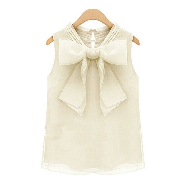 SheIn(sheinside) Beige Sleeveless Bow Chiffon Tank Top ($13) ❤ liked on Polyvore featuring tops, shirts, blouses, beige, sleeveless shirts, camisole tops, embellished tops, summer shirts and v neck shirt