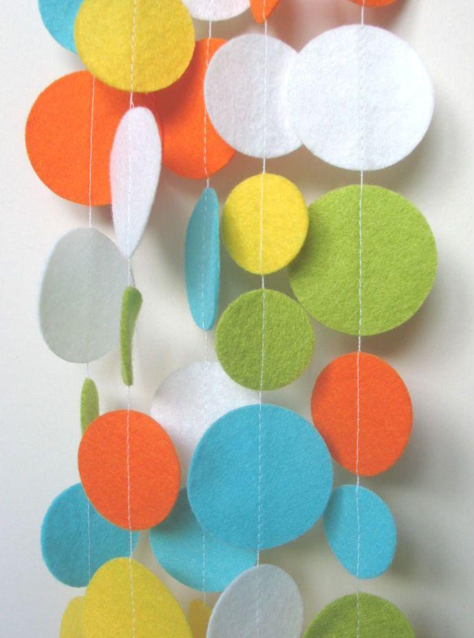 Fun and Bright Felt Circle Garland - Yellow Aqua Lime White Orange - APPROX 10ft via Etsy.