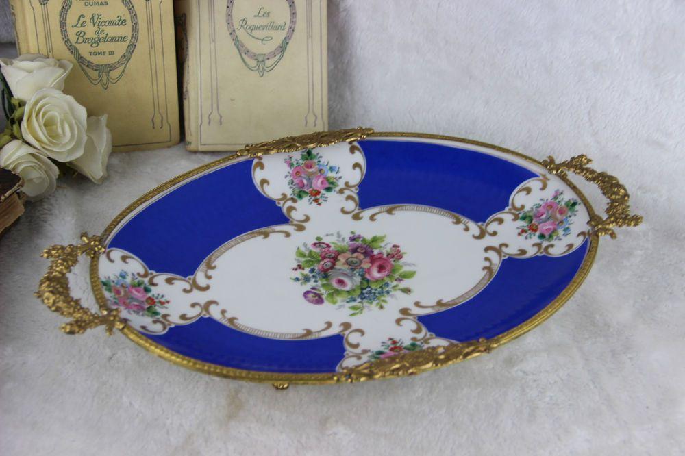 LArge French limoges porcelain plate floral decor brass