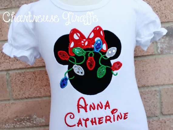 Personalized Minnie Mouse Christmas Lights Shirt (size 12 months-girls 8) Disney vacation shirt