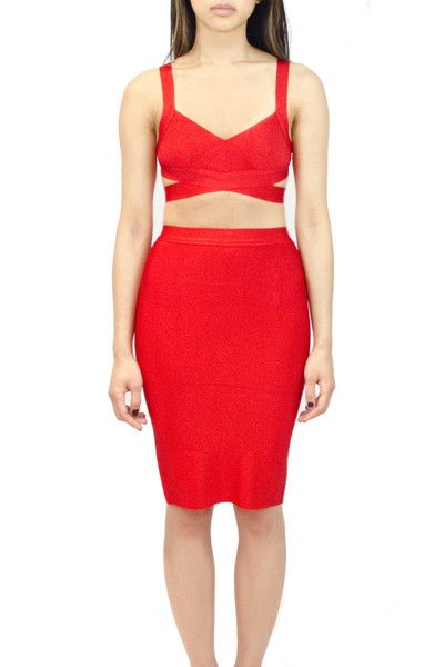 2 Piece Bandage Dress Available in Red & Black  oakandstate.com