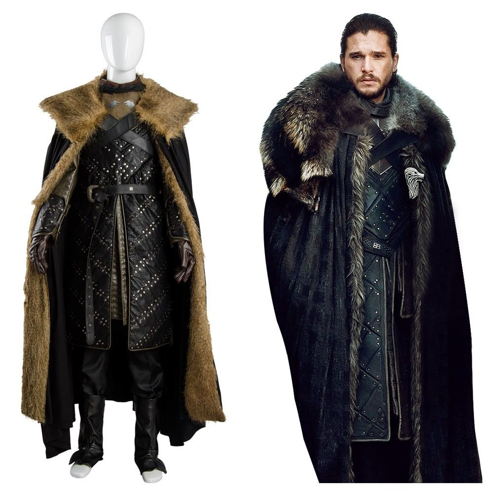 Game of Thrones Jon Snow Halloween Fancy Party Black Men Outfit Cosplay Costume