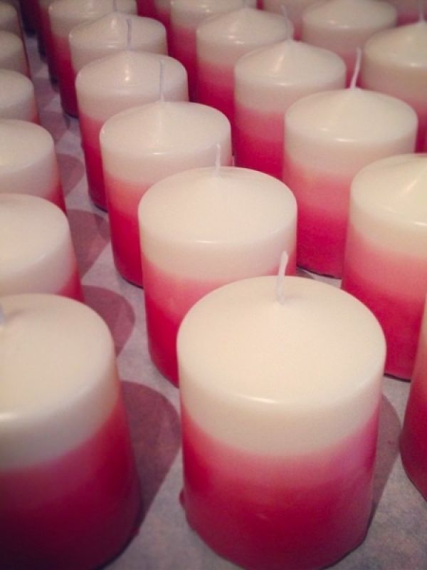 15 New Handmade Pink & White Ombre Candles