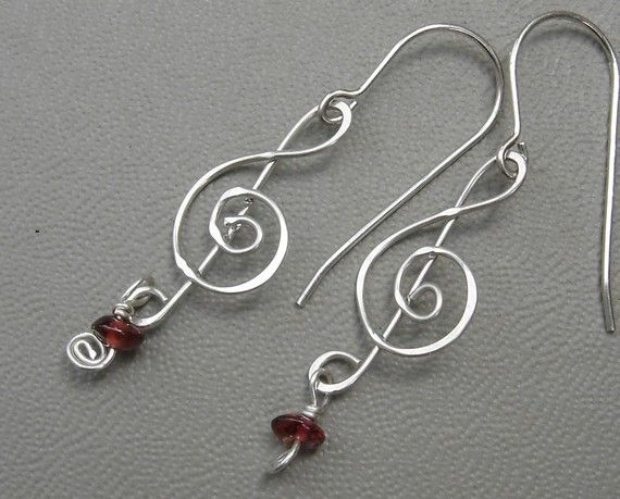 Treble Clef Silver Earrings With Garnet For By Nicholasandfelice 20 00