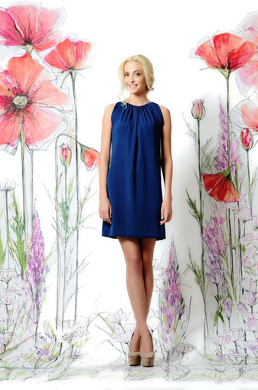 031f30c1555 Сапфировое платье-туника из плотной ткани прекрасно садится на любую  фигуру! Универсальное и очень