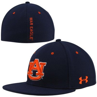 61f927e33ff Under Armour Auburn Tigers Stretch Fit Flat Bill Performance Hat - Navy Blue