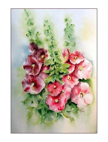 malven aquarell 3x48cm my favorite flowers pinterest aquarell malerei und blumen. Black Bedroom Furniture Sets. Home Design Ideas